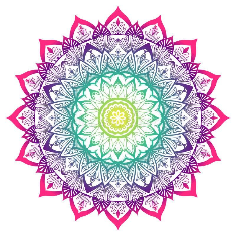 Kulör dekorativ Mandala i färgerna av regnbågen vektor illustrationer