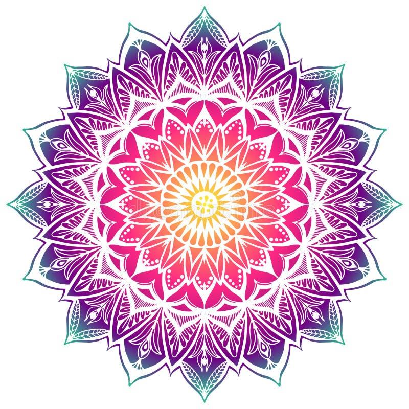 Kulör dekorativ Mandala i regnbågelutning Stencilmandala stock illustrationer