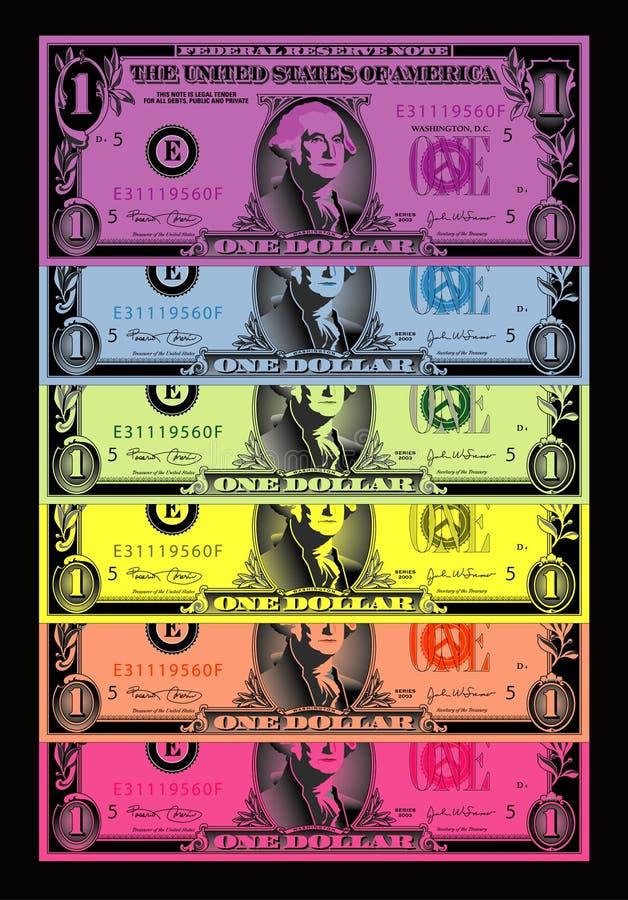 kulör dollarregnbåge för bills stock illustrationer