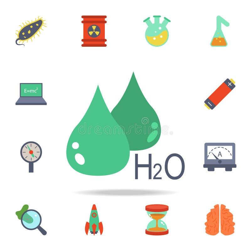 kulör droppe och formeln av vattensymbolen Detaljerad uppsättning av kulöra vetenskapssymboler Högvärdig grafisk design En av sam vektor illustrationer