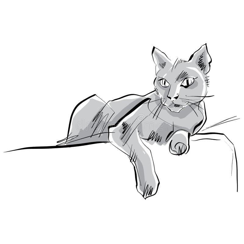 Kulör hand dragen katt royaltyfri illustrationer