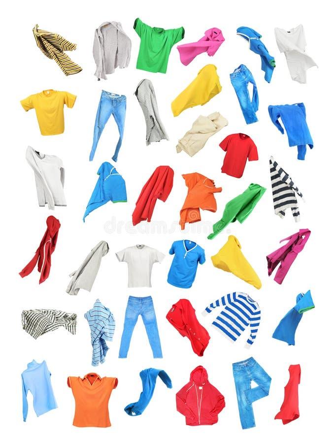 Kulör kläder i nedgången som isoleras på vit bakgrund royaltyfri illustrationer