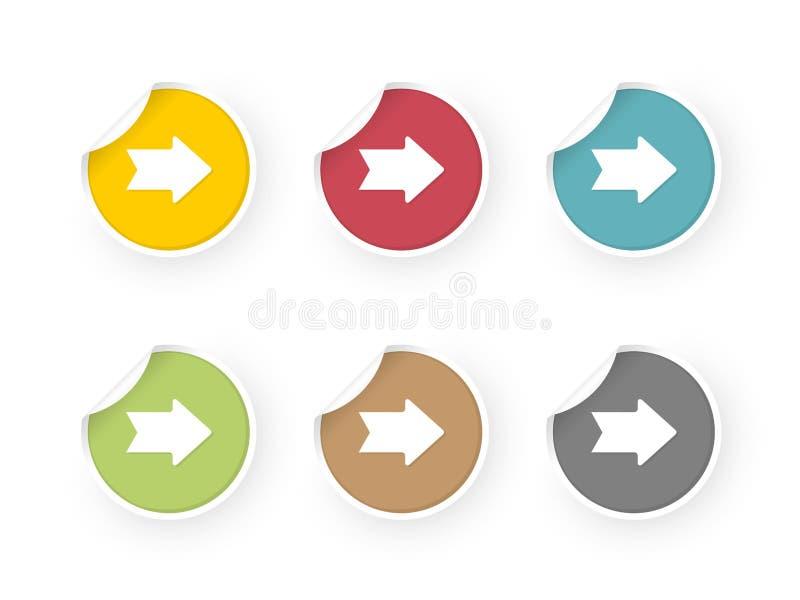 Kulör klistermärkeuppsättning med pilsymbolen vektor illustrationer