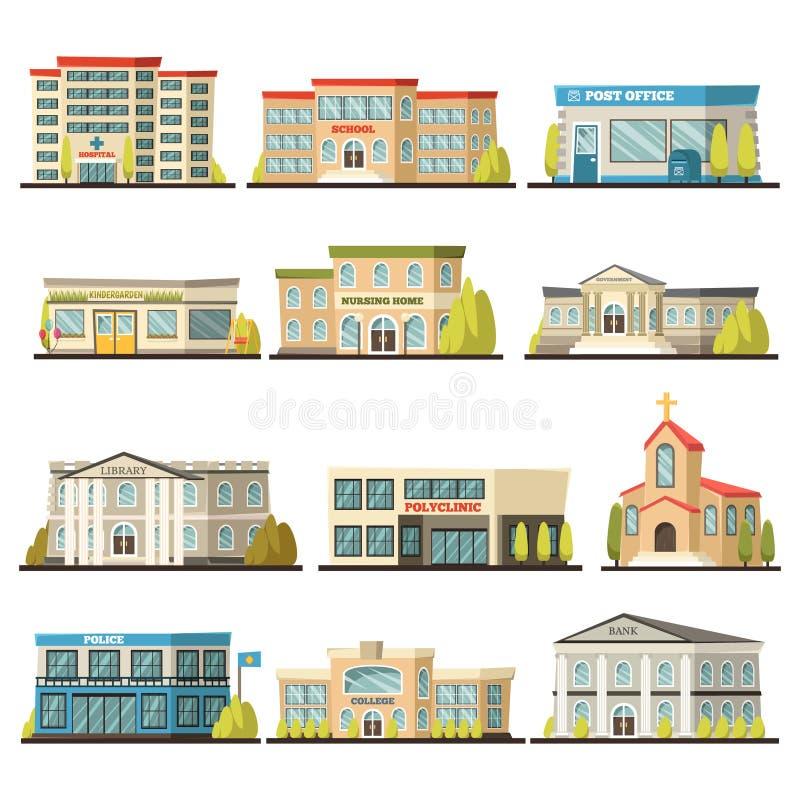 Kulör kommunal byggnadssymbolsuppsättning vektor illustrationer