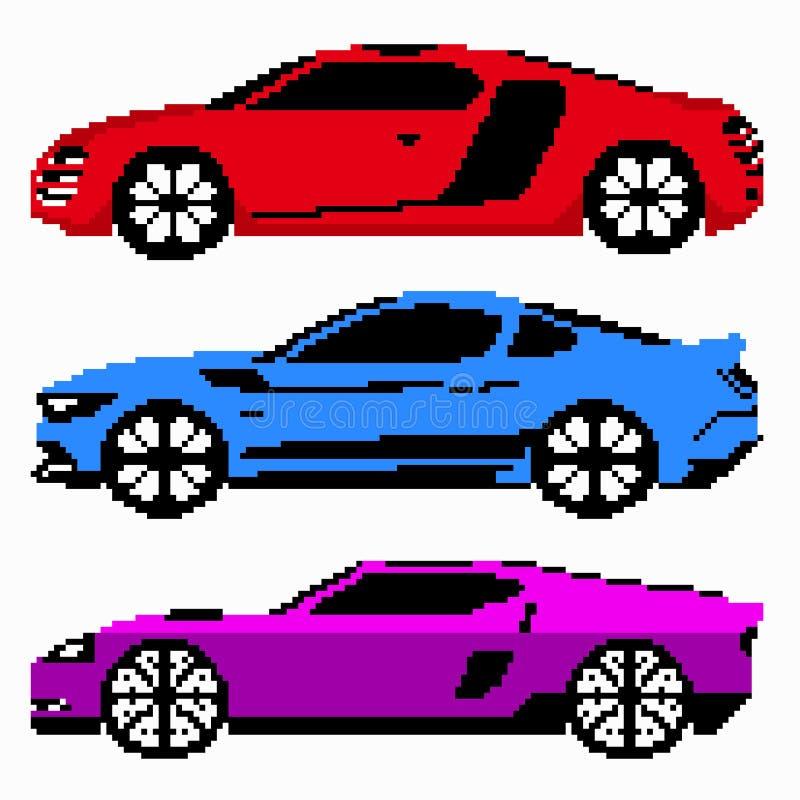Kulör konst för PIXEL för racerbilsamlingsvektor stock illustrationer