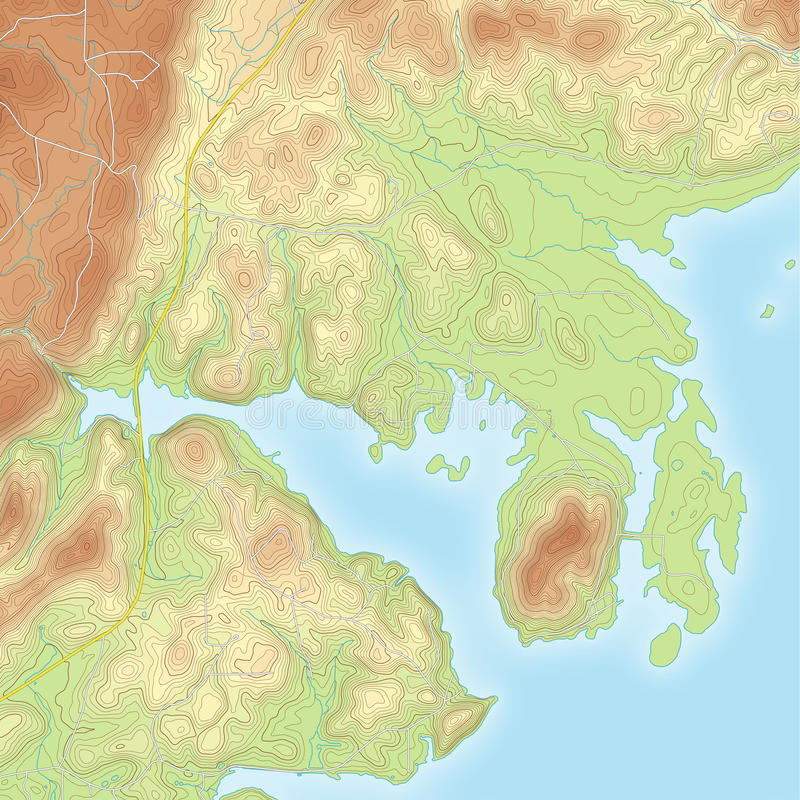 Kulör kust- Topographic översikt royaltyfri illustrationer