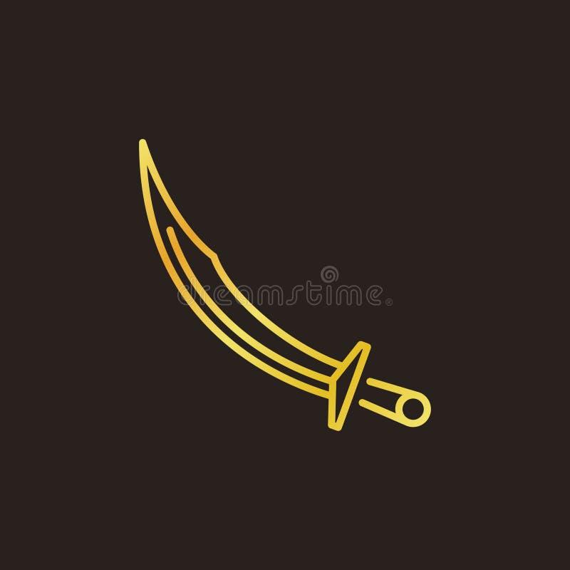 Kulör linjär symbol för ottomankroksabelvektor eller logobeståndsdel vektor illustrationer