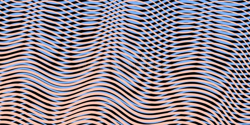 Kulör linje konstmodell med ojämna rastrerade vågor royaltyfri bild