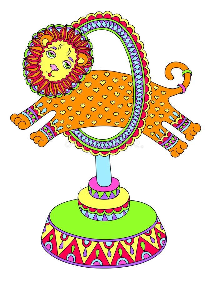 Kulör linje konstteckning av cirkustemat - ett lejon stock illustrationer