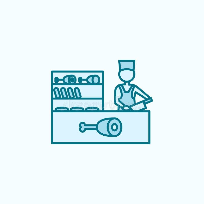 kulör linje symbol för köttavsnitt 2 Enkel kulör beståndsdelillustration design för symbol för köttavsnittöversikt från shoppingg stock illustrationer