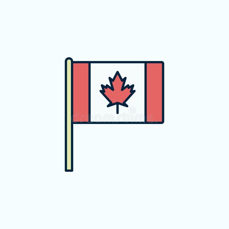 Kulör linje symbol för Kanada flagga 2 Enkel kulör beståndsdelillustration Designen för det Kanada översiktssymbolet från flaggor royaltyfri illustrationer