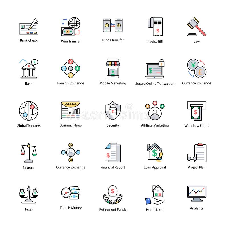 Kulör linje symboler av affären och finans stock illustrationer