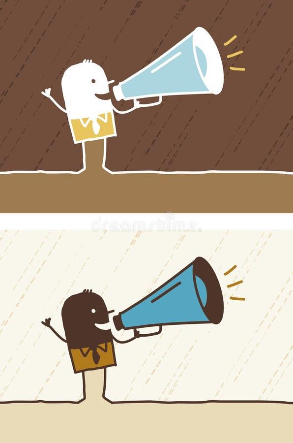 kulör loudhailer för tecknad film stock illustrationer