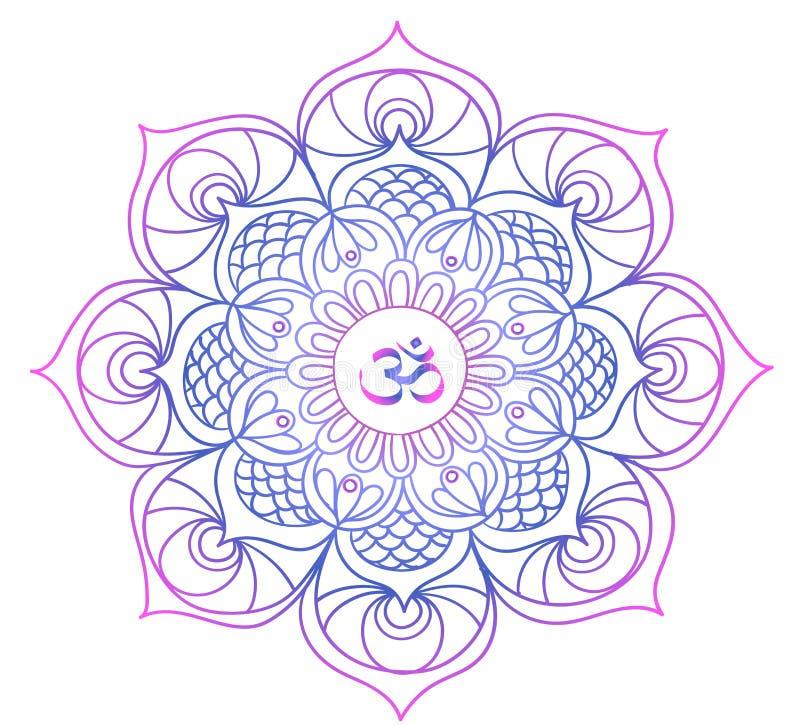 Kulör mandala - buddism - meditation, avkoppling stock illustrationer