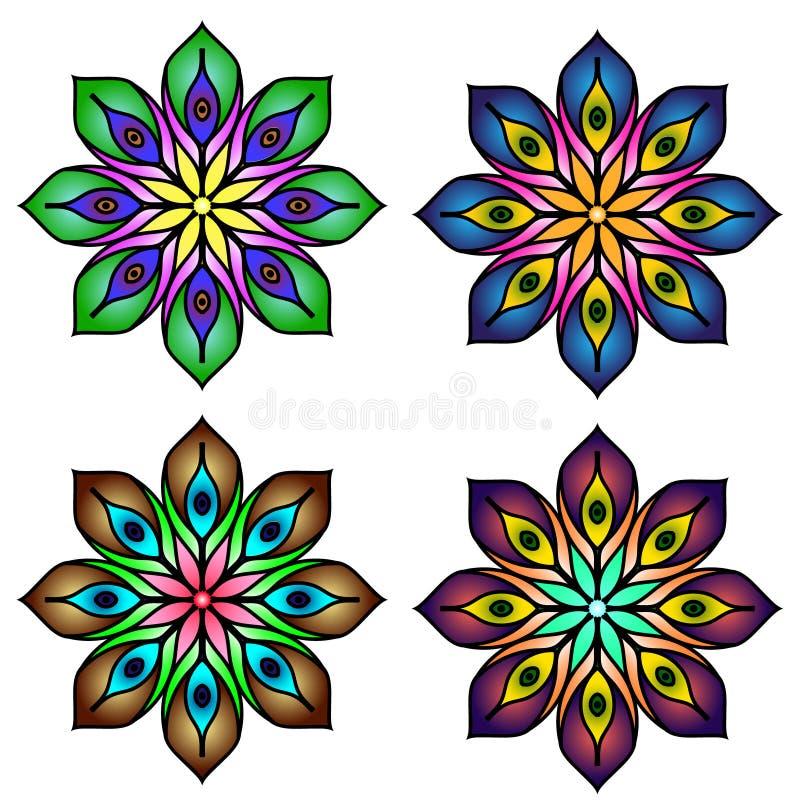 Kulör mandalasuppsättning för mandala fyra vektor illustrationer