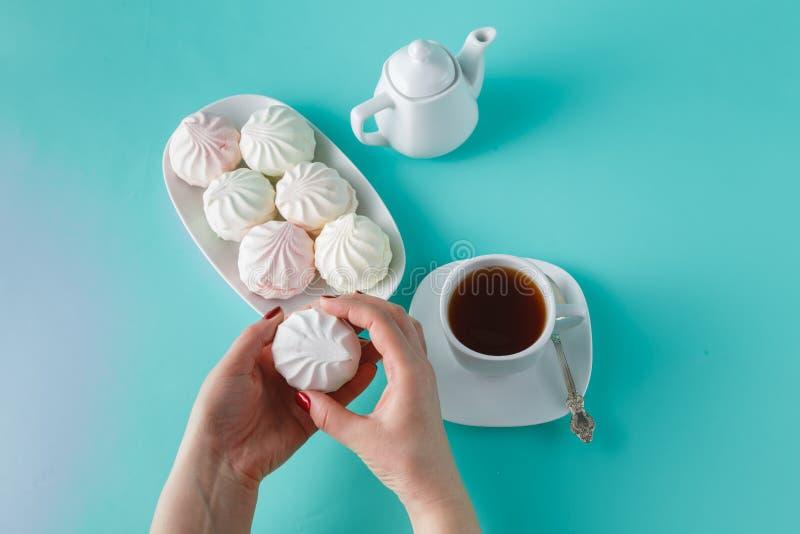 Kulör marshmallow för kvinnahackapastell arkivbilder