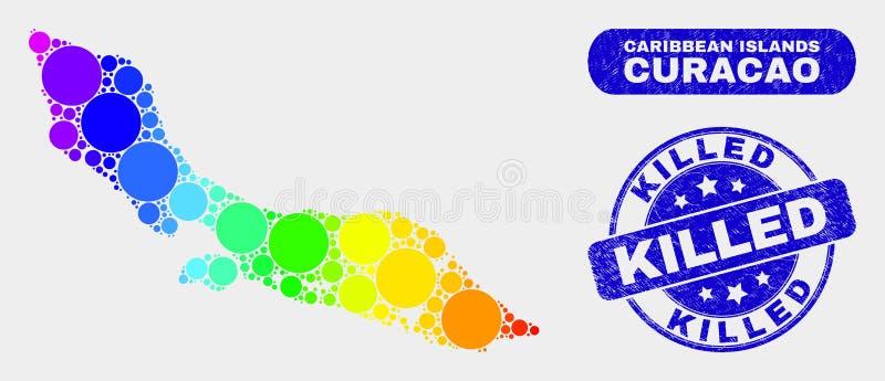 Kulör mosaisk Curacao ööversikt och att bedröva den dödade stämpeln vektor illustrationer