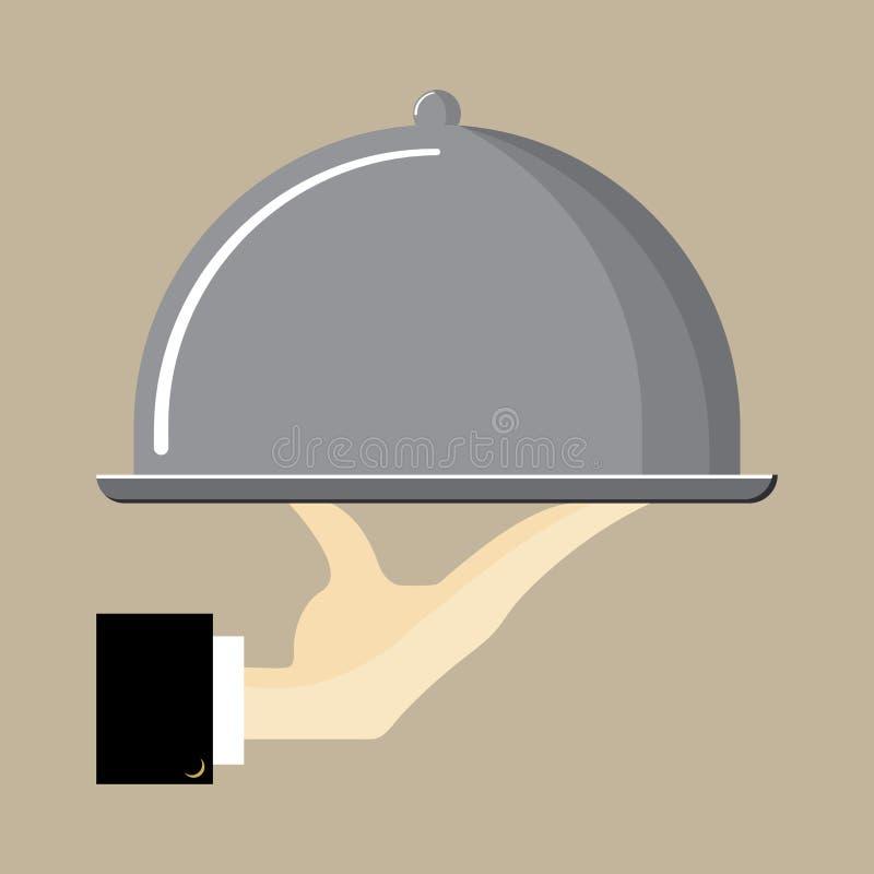Kulör plan symbol, vektordesign Magasin för hand för uppassare` s hållande med sticklingshusräkningen vektor illustrationer