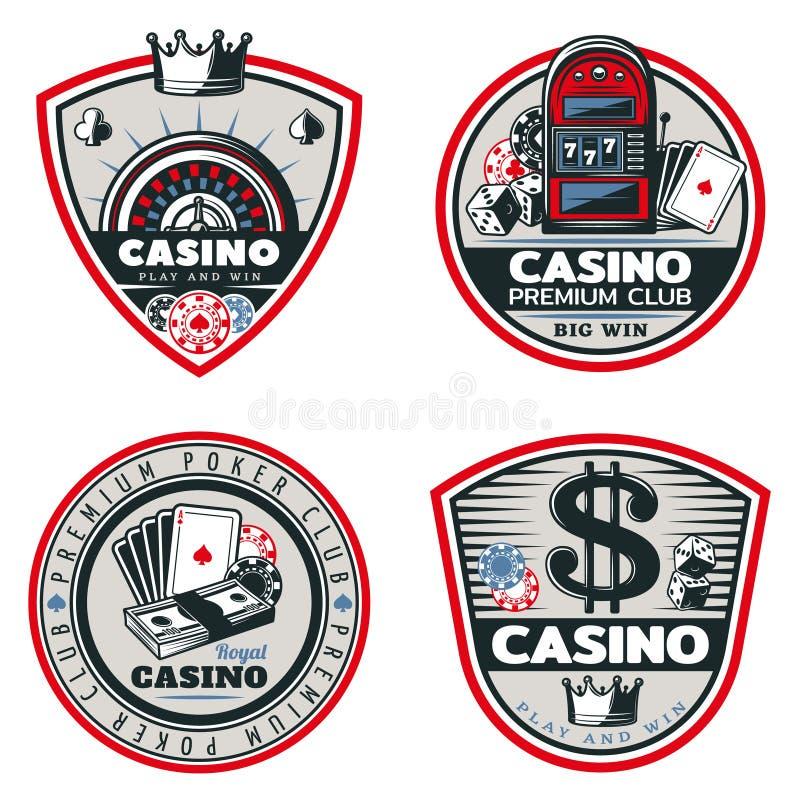 Kulör poker- och kasinoemblemuppsättning royaltyfri illustrationer