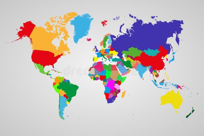 Kulör politisk världskarta med suveräna länder och större beroende territorier Olika färger för varje länder stock illustrationer