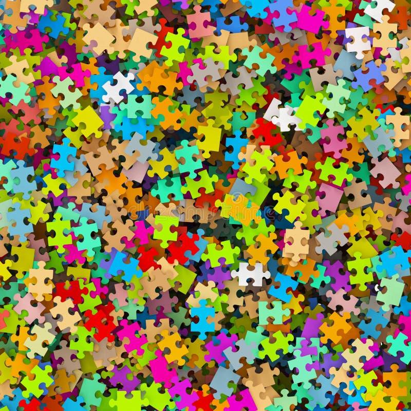 Kulör pusselstyckhög - färgrik bakgrundsfigursåg stock illustrationer