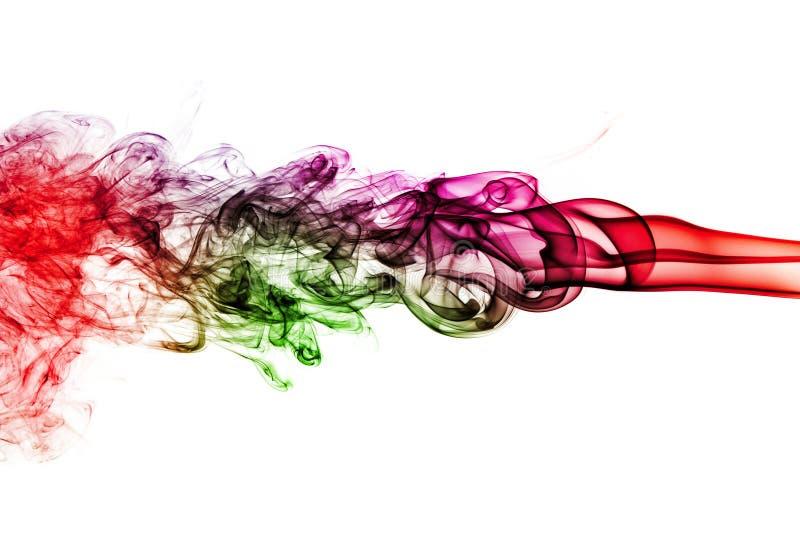 Kulör rök som isoleras på vit bakgrund fotografering för bildbyråer