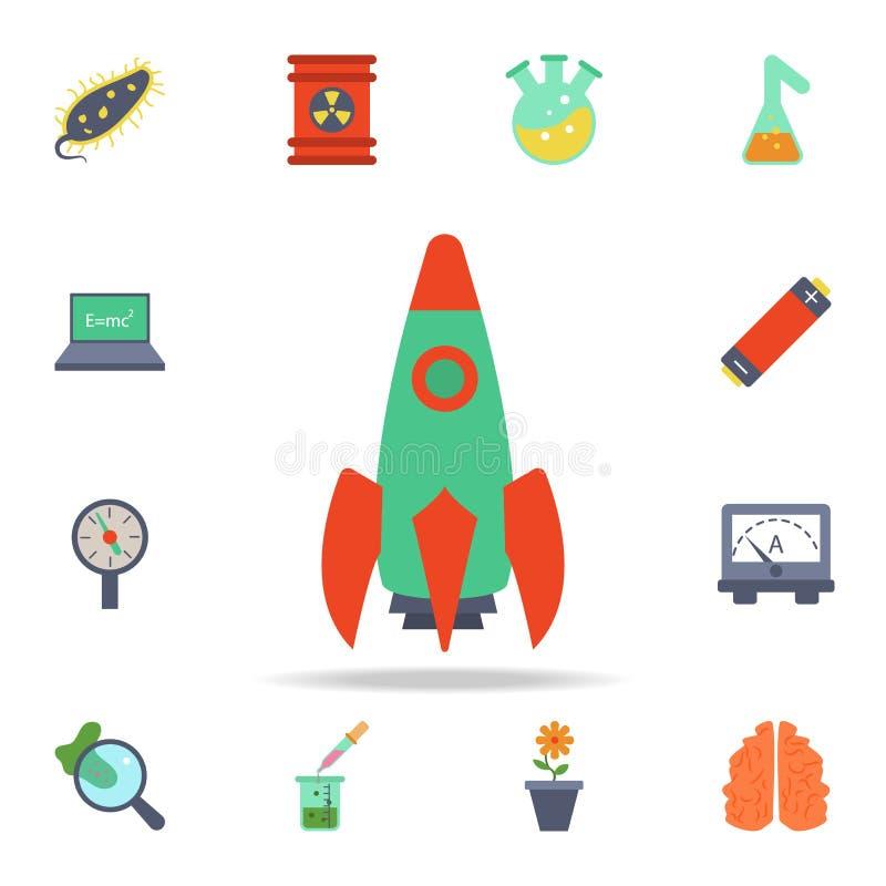 kulör raketsymbol Detaljerad uppsättning av kulöra vetenskapssymboler Högvärdig grafisk design En av samlingssymbolerna för websi stock illustrationer
