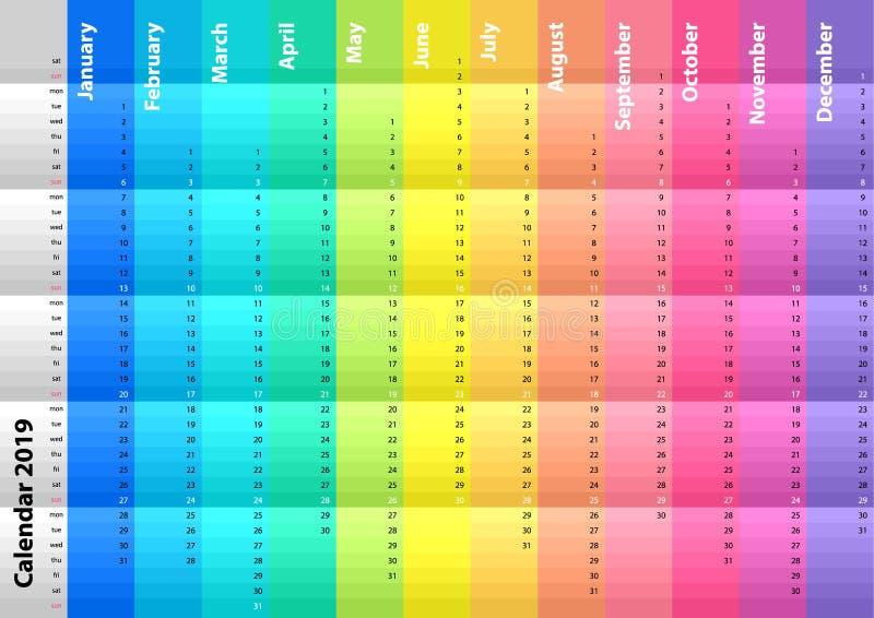 Kulör randig kalender för det 2019 året Spektral- färger Färgrik vektoruppsättning skriva för mall för designbrandanteckningsbok  stock illustrationer