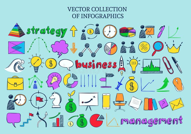 Kulör samling för Infographic affärssymboler stock illustrationer