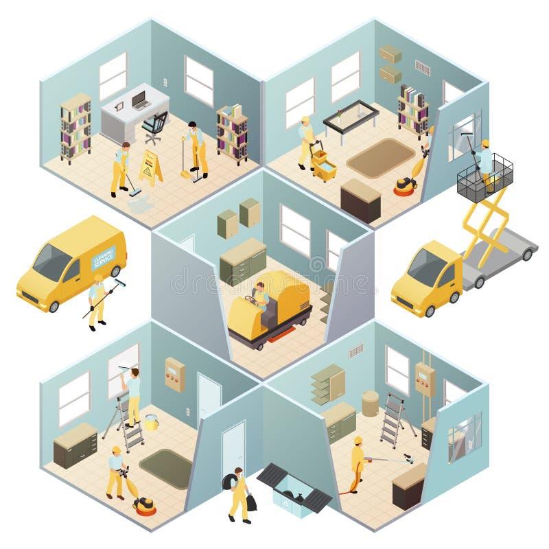 Kulör sammansättning för isometrisk industriell lokalvård royaltyfri illustrationer