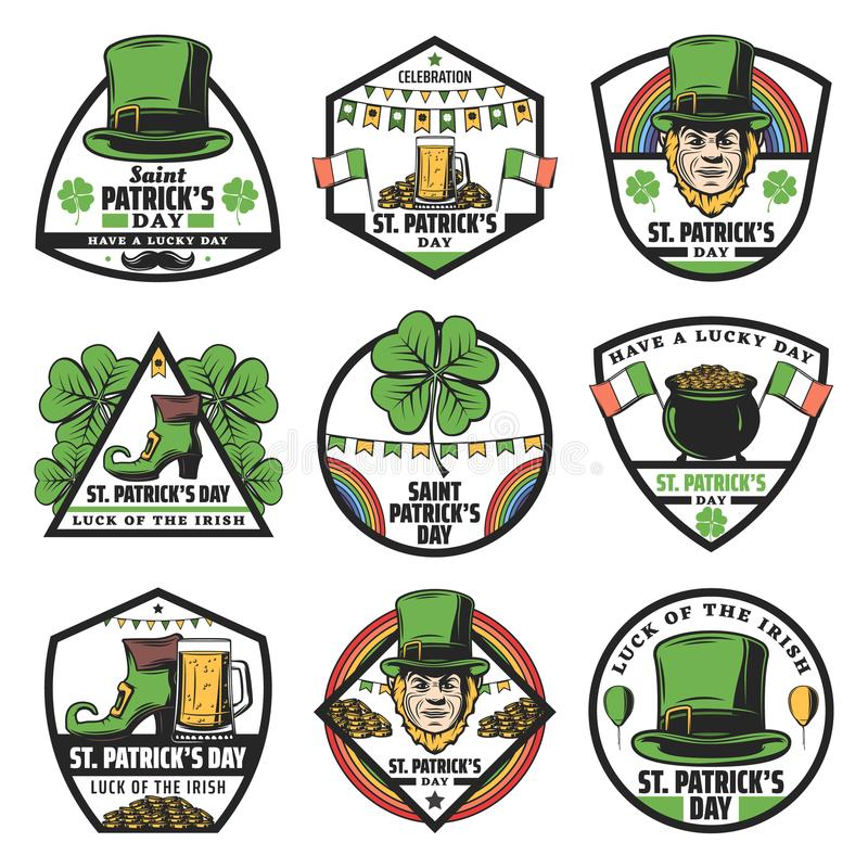 Kulör St Patrick Labels Set för tappning stock illustrationer