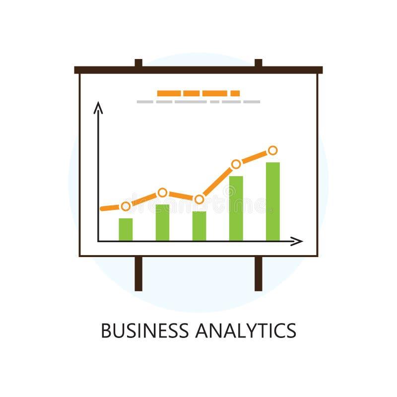 Kulör statistik- och Analyticssymbol för lägenhet vektor illustrationer