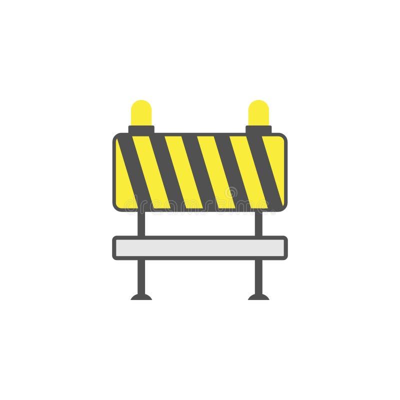 Kulör symbol för barrikad Beståndsdel av vägmärken och föreningspunktsymbolen för mobila begrepps- och rengöringsdukapps Den kulö stock illustrationer