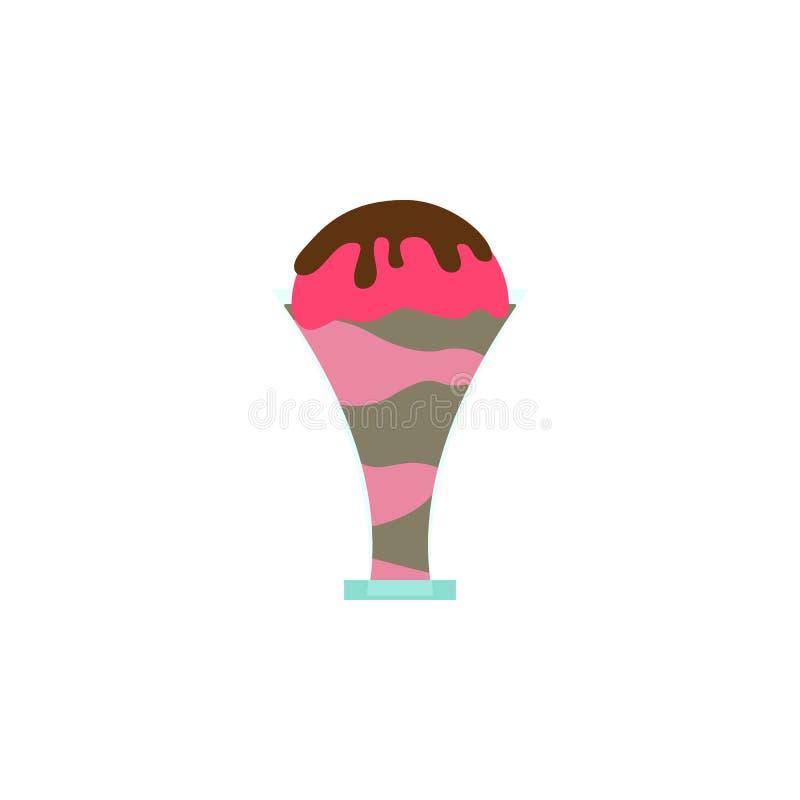 Kulör symbol för glasschokladjordgubbe Beståndsdel av glassillustrationsymbolen Tecknet och symboler kan användas för rengöringsd stock illustrationer