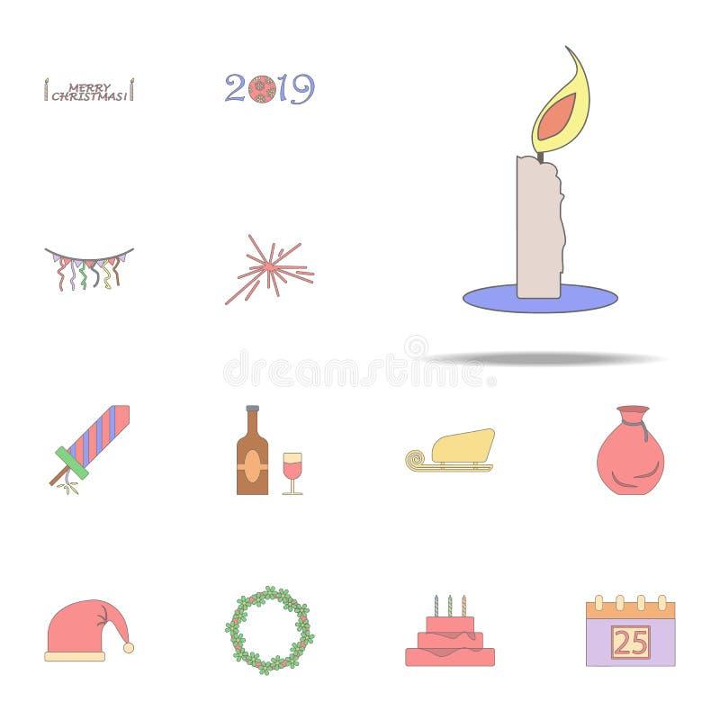 Kulör symbol för julljus Jul semestrar den universella uppsättningen för symboler för rengöringsduk och mobil stock illustrationer