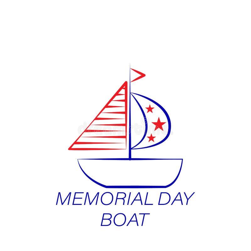 Kulör symbol för minnesdagenfartyg Beståndsdel av minnesdagenillustrationsymbolen r stock illustrationer