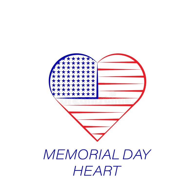 Kulör symbol för minnesdagenhjärta Beståndsdel av minnesdagenillustrationsymbolen r royaltyfri illustrationer