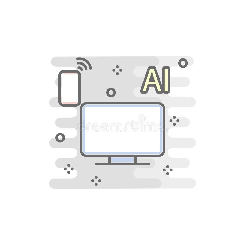 kulör symbol för smart TV Beståndsdel av den kulöra smarta teknologisymbolen för mobila begrepps- och rengöringsdukapps Kan den s royaltyfri illustrationer