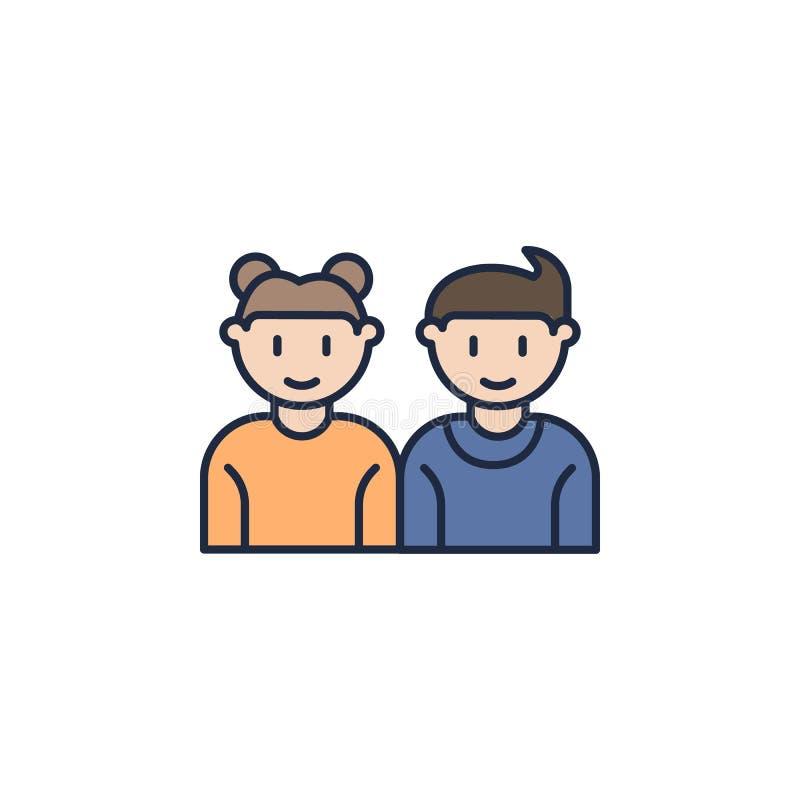 kulör symbol för syskongrupp Beståndsdel av familjsymbolen för mobila begrepps- och rengöringsdukapps Den kulöra syskongruppsymbo royaltyfri illustrationer