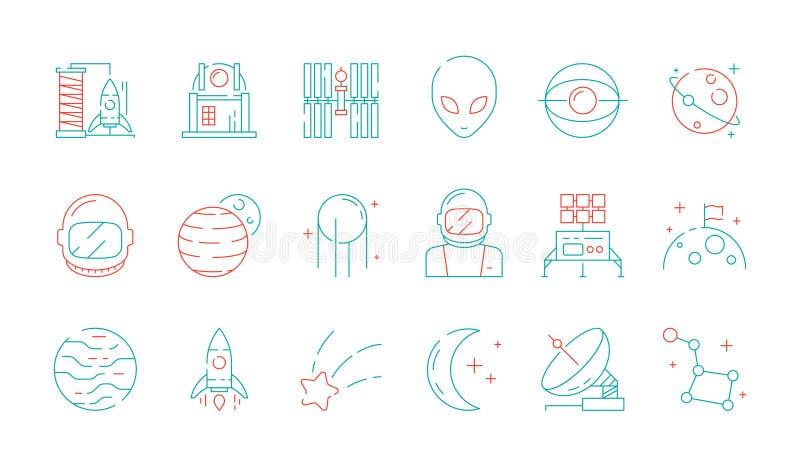 Kulör symbol för utrymme Vektor för radar för främmande raket för anslutning för astronaut för upptäckt för astronomisamlingsuniv stock illustrationer