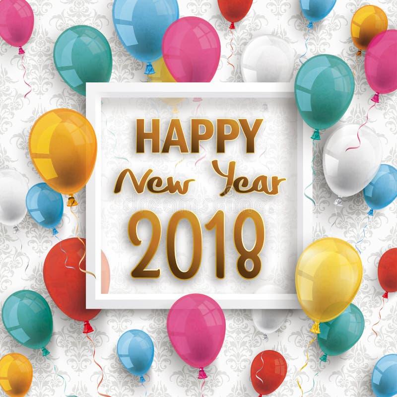 Kulör tapet för prydnader för lyckligt nytt år 2018 för ballongram vektor illustrationer