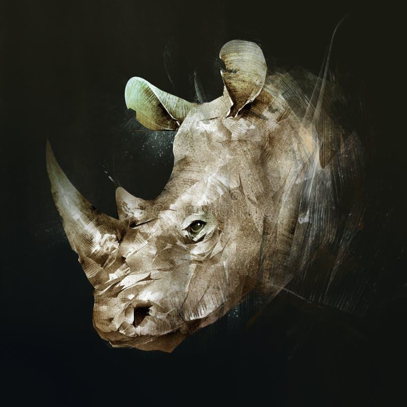 Kulör teckning av tysta ned av noshörningen på sidan vektor illustrationer