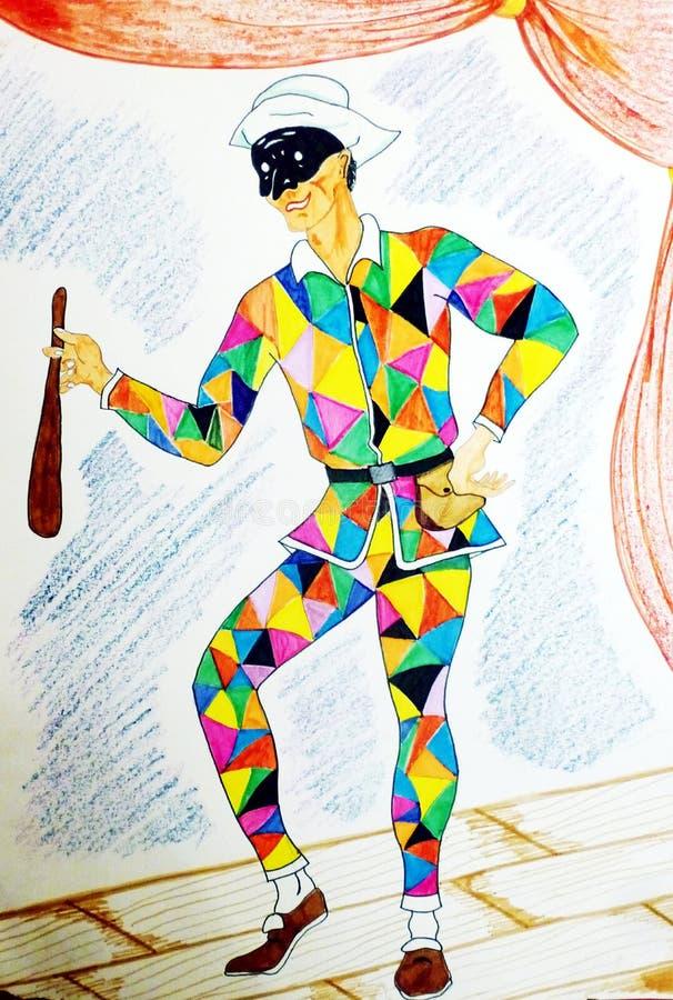 Kulör teckning med tuschpennor som visar harlekinen stock illustrationer