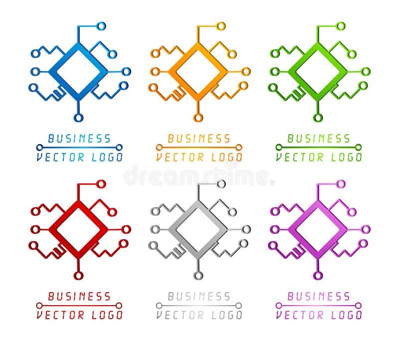 kulör teknologi för logo 3d royaltyfri illustrationer