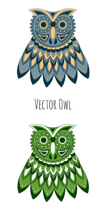 Kulör uggla för vektor royaltyfri fotografi