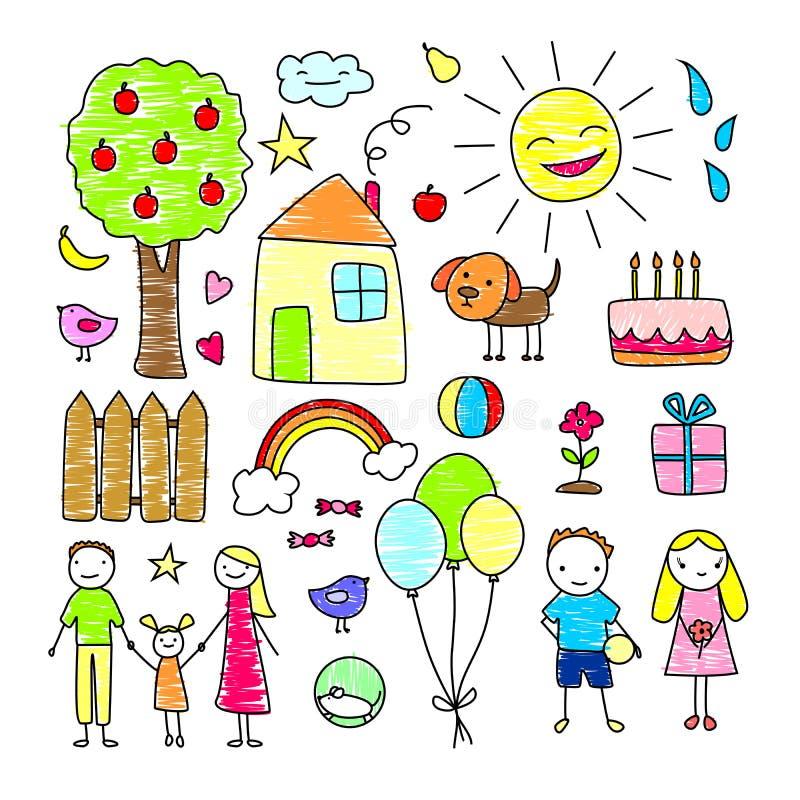 Kulör uppsättning för barnteckningsbeståndsdelar stock illustrationer