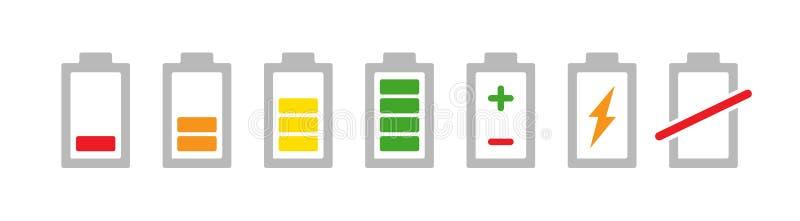 Kulör uppsättning för batteriindikatorsymbol Jämn ackumulatorsymbol för laddning och teckenillustration på vit bakgrund vektor illustrationer