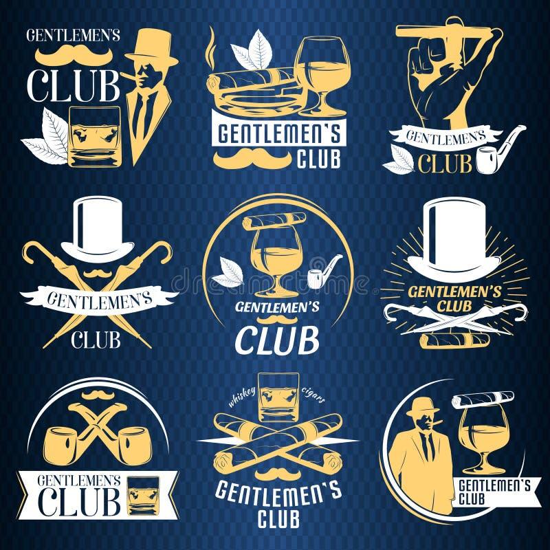 Kulör uppsättning för gentlemanklubbaetikett stock illustrationer