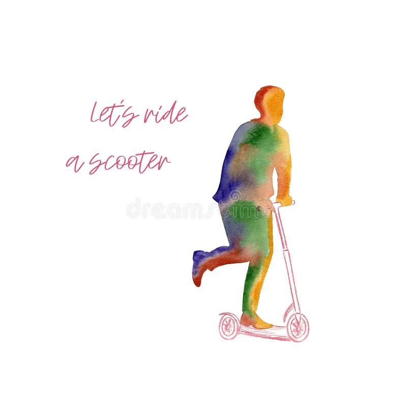 Kulör vattenfärgaffisch med en ljus kontur av en man som rider en sparkcykel Sport- och fritidsaktivitetbegrepp stock illustrationer