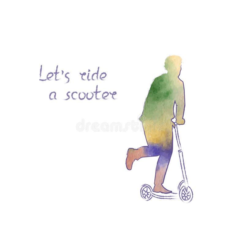 Kulör vektoraffisch med en ljus kontur av en man som rider en sparkcykel Sport- och fritidsaktivitetbegrepp royaltyfri illustrationer